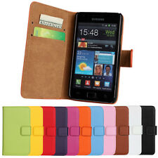 Perfect For Samsung Galaxy S2 i9100 Genuine Leather Wallet Case Cover Protector