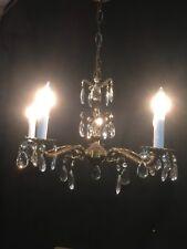 Vintage 5- Lite Original Finish Spanish Style Brass/Crystal Chandelier/ Fixture