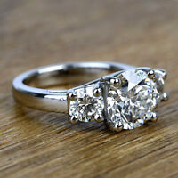 Three Stone 2.22 Carat Round Cut Diamond Engagement Ring 14k White Gold VS2 H