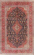 Vintage Navy Blue Red Floral Ardakan Area Rug Oriental Hand-Knotted 8x12 Carpet