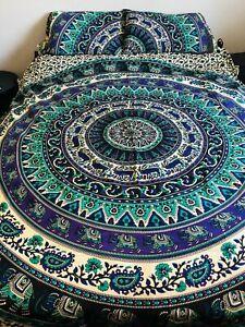 Elephant Purple Sea Green Mandala Queen Duvet Set Doona Cover Quilt Comforter