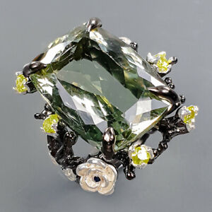 28ct+ Vintage Green Amethyst Ring Silver 925 Sterling  Size 9 /R178324
