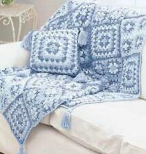 GRANNY SQUARE MOTIF BLANKET/THROW & PILLOW ARAN CROCHET PATTERN