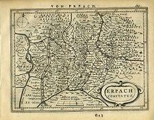 1651 Genuine Antique map Sw Germany, Heidelberg, Erpach. Mercator/Jansson