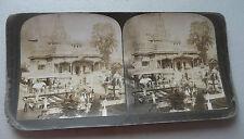 STEREOVIEW PHOTO INDIA  JAIN TEMPLE CALCUTTA  FINEST IN THE WORLD 1907