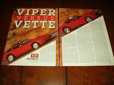 1992 DODGE VIPER V-10 vs. 1992 CORVETTE ZR1  ***ORIGINAL ARTICLE***