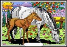 Tableau à colorier en velours - Jument et son poulain - Neuf