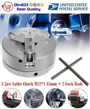 Metal 3 Jaw Lathe Chuck M12*1 45mm Self Centering Hardened + 2PCS Lock Rods USA