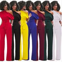 Fall Winter S-XL XXL Plus Size One-shoulder Jumpsuits Elegant Women Pencil Pants