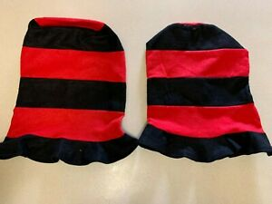 Lot of 2 Tall Black and Red Felt Party Hats New