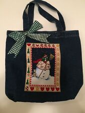 New Snowman Denim Cloth Gift Bag Christmas Storage Package