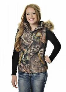 Girls With Guns GWG Mossy Oak Camouflage Zippered Vest, Faux Fur Jacket