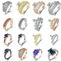 Women Geometric Zircon Stainless Steel Crystal Crown Engagement Wedding Ring