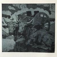 MAURICE DE BECQUE Gravure Eau Forte Art Deco 1930 vache sacré cow buffalo