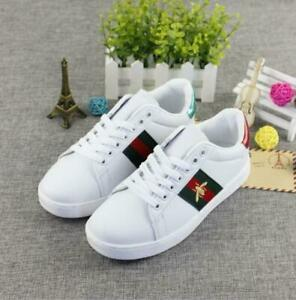 Running White Trainers Shoes New Womens Luxury Lace Up Embroidery Bee Flat Heels