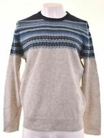 J. CREW Mens Crew Neck Jumper Sweater Large Grey Wool  LS05