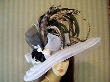 Kentucky Derby Hat, Wedding Hat, WHite Hat, Tea Hat, Victorian, Preakness Hat