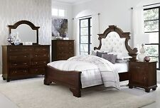 Luxury Amish Bedroom Set Upholstered Tufted Headboard Queen Anne Solid Wood