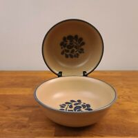 "VTG Set of 2 Pfaltzgraff Folk Art Stoneware 6 5/8"" Super Soup/Cereal Bowls USA"