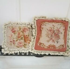 "2 Vtg 14x14"",10x10 Aubusson French Floral Needlepoint Woven Tassel Pillow Zipper"