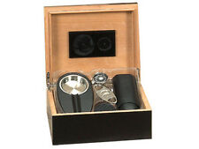 40 Cigar Humidor Set w/ Cutter Hygrometer Humidifier Ashtray & Case 7921 Black