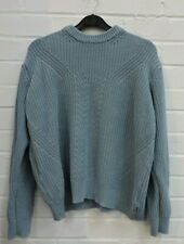 Ladies Marks & Spencer Blue Cable Knit Jumper Size M #R9-CE