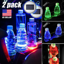 2PC LED Lights Solar Cup Pad Car accessories USA Light Cover Interior Decoration