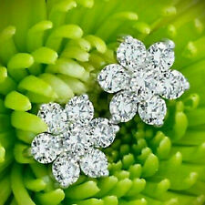 2.00 Ct Round Cut Diamond With 14K White Gold Over Cluster Flower Stud Earrings
