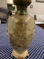 "Satsuma Meji Vase Gold Samurai Footed Double Signed Antique Rare 11"" Moriage"
