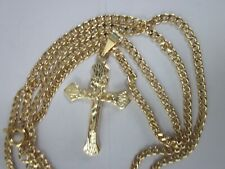 New 14K gold Filled 24 inch 2mm Curb Cuban link chain cross crucifix necklace