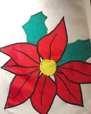 "Winter Poinsettia Floral Mini Garden Flag Banner Heavy Nylon 11"" X 15"" New"