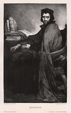 """Interesting GABRIEL MAX 1800s Woodcut """"Mephisto in Faust's Clothing"""" SIGNED COA"""
