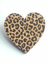Wood Heart Brooch Pin Badge Jewellery Gift Animal Print Cheetah Christmas gift