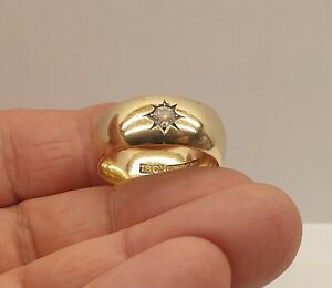 Antique Victorian Men's Stamped 18ct Gold Plated Chunky Band Ring with Gemstone