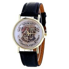 New Harry Potter Hogwarts  Gold  Faced Quartz Watch Black  Strap