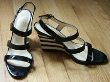 Kate Spade 7.5 B Strappy Patent Leather Black & White Stripe Wedge Italy