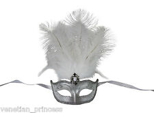 Gorgeous Silver Venetian Masquerade Mask with Feathers Mardi Gras FM011WHSL