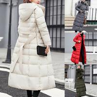 Coat Women's Classic Collar Puffer Winter Fur Cotton Warm Down Maxi Jacket Long