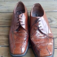 Stacy Adams Mens Shoes Genuine Snake Skin Leather Oxfords Lace Up Brown 10 1/2M