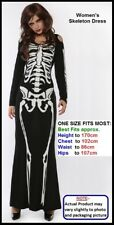 SKELETON DRESS Halloween Dead Zombie Fancy Dress Costume Party WOMEN 1 SIZE New