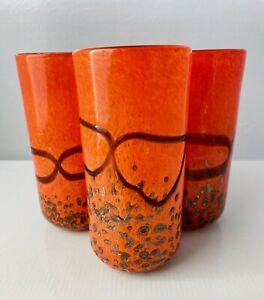 4 Artisan Glass Tumblers Bright Orange Gold Glitter Brown Set Hand Blown 70s Vtg