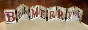 Vintage Christmas Wood Hinged Plaque Be Merry Snowman Green Red Holiday Spirit