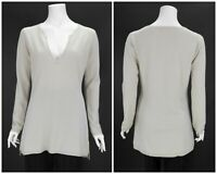 Womens FTC 100% Cashmere Jumper Sweater Grey V-Neck Swiss Size 1 / S