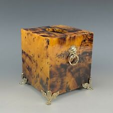 Faux Tortoise Shell Lion Mask Face & Footed Paw Lacquered Napkin Tissue Box Rmg