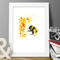 new BUMBLE BEE FLOWERS ORIGINAL WATERCOLOUR PRINT PAINTING SIGNED