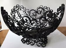 Vintage Wrought Iron Scroll Black Metal Fruit Bowl Basket Pedestal Made in Spain