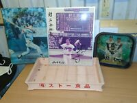 VINTAGE JAPANESE BASEBALL SIGNED PHOTOGRAPH, TIN TRAY, PLASTIC TRAY