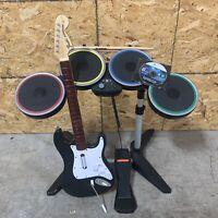 Xbox 360 Harmonix Rock Band Wireless Drum Set Wireless Guitar Bundle RockBand 1