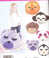 Pattern FLEECE ANIMAL PILLOWS lion dog panda penguin NEW sewing
