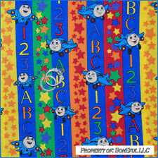BonEful FABRIC FQ Cotton Jay Jet Plane Stripe Rainbow Airplane Boy Baby ABC 123